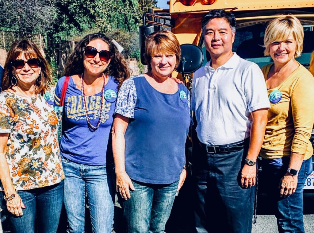 Lesli with Former School Board Member Jill Gaines, Deborah Lopez, Congressman Ted Lieu, and School Board Member Angela Cutbill